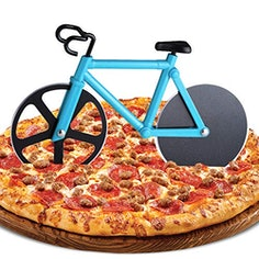 Lustiger Fahrrad Pizzaschneider aus Edelstahl