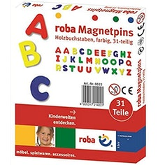 roba Magnet Buchstaben, ABC Set 31tlg, Magnetpins aus Holz
