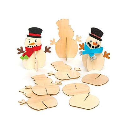 Bastelset: Schneemann aus Holz (6 Stück) für Kinder