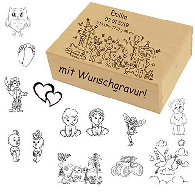 Erinnerungs-Box aus Holz mit Gravur - Schatzkiste & Aufbewahrungsbox