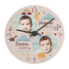 Fotouhr zur Geburt für 2 Kinder - Mit Namen, Geburtsdatum, Gewicht, Uhrzeit und Größe