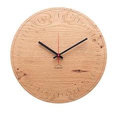 huamet Holz-Wanduhr aus Eiche - Schlichtes Design, geräuschloses Ticken