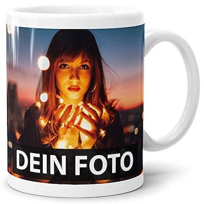 Foto-Tasse zum selbst gestalten mit Foto und Text (personalisierbar)
