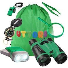 Kinder-Forscherset mit Fernglas, Taschenlampe, Lupe und Insektensammler und vielem mehr!