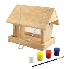 Vogelfuttersilo-Bausatz WOODPECKER, Futterstation inklusive Farbset zum Bemalen