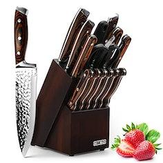 HOBO Messerblockset, 15-teiliges Küchenmesserset, Kochmesserset mit Anspitzer,