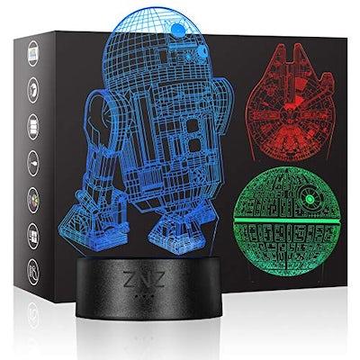 3D LED Star Wars Nachtlicht, Illusion Lampe mit Muster für Todesstern, R2D2 oder Millennium Falcon